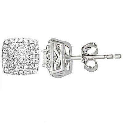 1/4 CT. T.W. Genuine White Diamond 10K Gold 6.7mm Stud Earrings