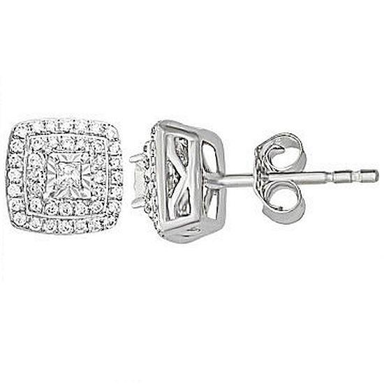 1/4 CT. T.W. Genuine White Diamond 10K Gold 6.7mm Stud Earrings