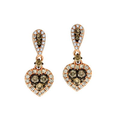 7/8 CT. T.W. Chapagne & White Diamond 10K Rose Gold Drop Earrings