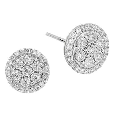 1/4 CT. T.W. GENUINE White Diamond 10K GOLD 6.7mm Hoop Earrings