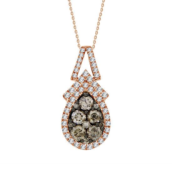 Womens 1 CT. T.W. Genuine Champagne Diamond 10K Gold Pendant Necklace