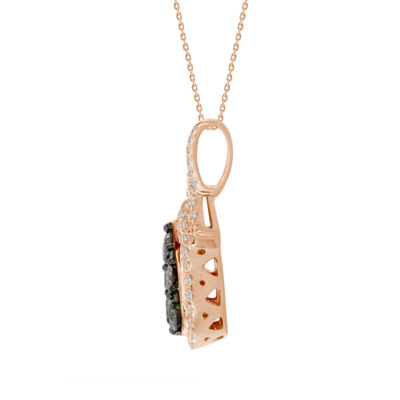 Womens 1 CT. T.W. Genuine Champagne Diamond 10K Gold Pendant Necklace
