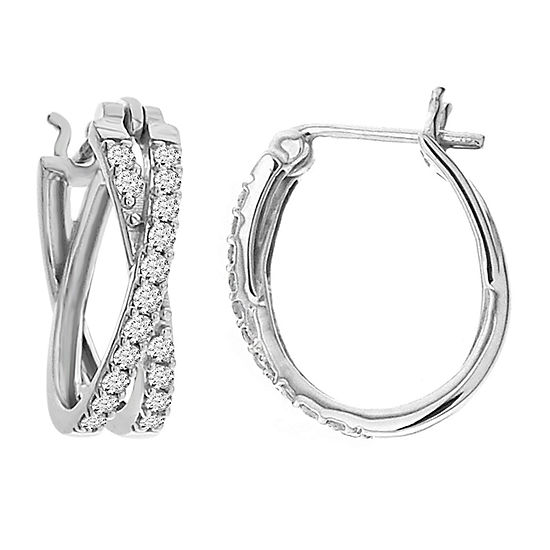 Womens Genuine Diamond 10k White Gold Hoop Earrings