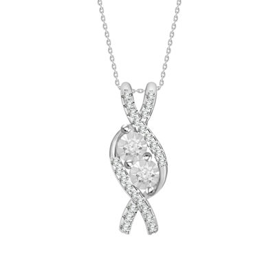 Womens 1/8 CT. T.W. Genuine White Diamond Pendant Necklace