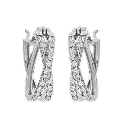 Womens Genuine Diamond 10K White Gold Hoop Earrings