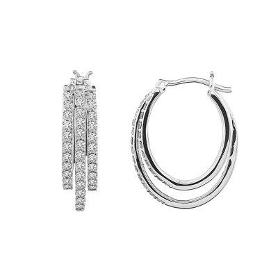 1 CT. T.W. Genuine White Diamond 10K Gold 22.9mm Stud Earrings
