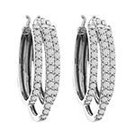 1 CT. T.W. Genuine White Diamond 10K Gold 22.9mm Hoop Earrings