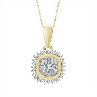 Womens 1/5 CT. T.W. Genuine White Diamond 10K Gold Pendant Necklace