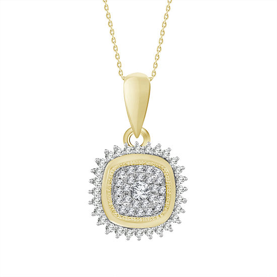Womens 1/5 CT. T.W. Genuine White Diamond 10K Gold Pendant Necklace