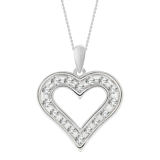 Womens 3/4 CT. T.W. Genuine White Diamond 10K Gold Heart Pendant Necklace