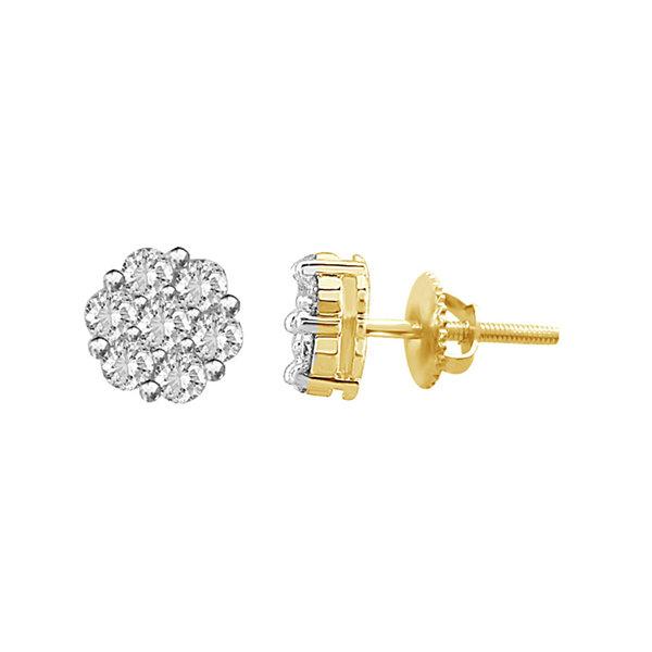 Fine Jewelry diamond blossom 1/2 CT. T.W. Diamond Hoop Earrings 3Zqz7