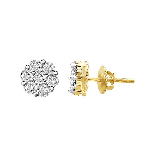 Genuine White Diamond 14K Yellow Gold Stud Earrings