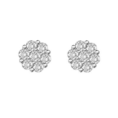 Genuine White Diamond 14K Yellow Gold Stud Earrings
