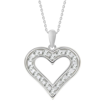 Womens 1/2 CT. T.W. Genuine White Diamond 10K Gold Heart Pendant Necklace