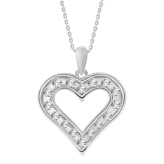 Womens 1/2 CT. T.W. Genuine White Diamond 10K Gold Heart Pendant Necklace