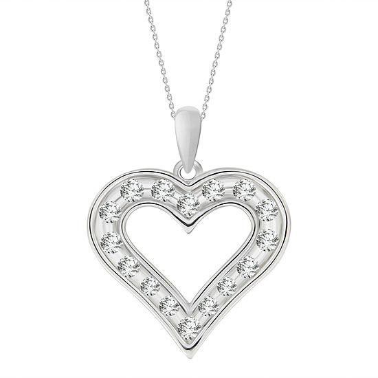 Womens 1/4 CT. T.W. Genuine White Diamond 10K Gold Heart Pendant Necklace