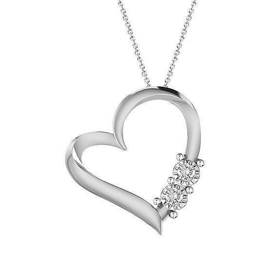 Womens Diamond Accent Genuine White Diamond 10K Gold Heart Pendant Necklace