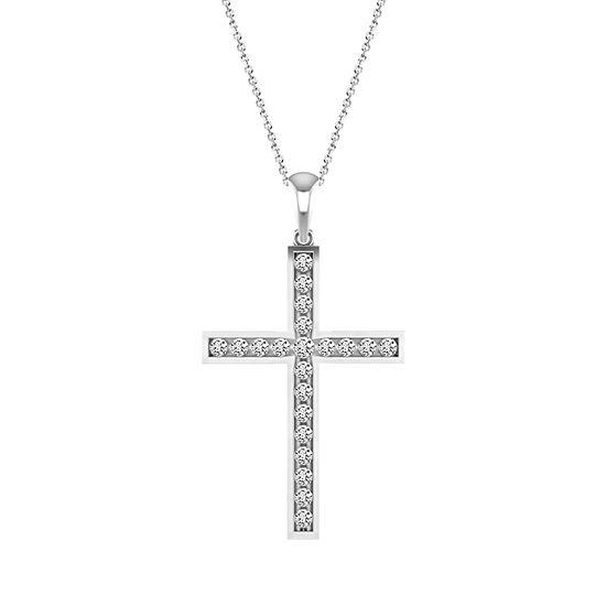 Womens 1/2 CT. T.W. Genuine White Diamond 10K Gold Cross Pendant Necklace