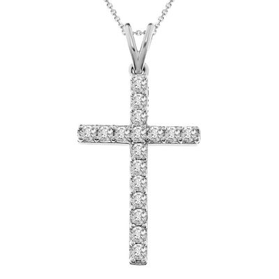 Womens 1/2 CT. T.W. Genuine White Diamond 10K Gold Cross Pendant Necklace