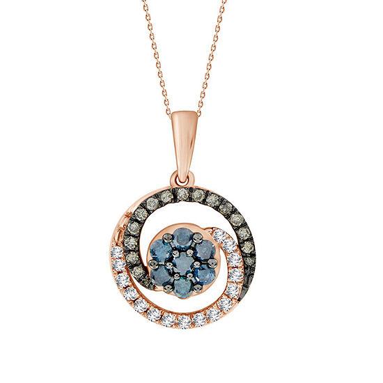 Womens 1 2 Ct Tw Genuine Champagne Diamond 10k Gold Pendant Necklace