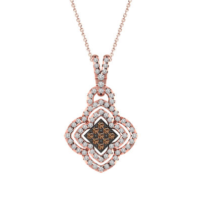 Womens 3/4 CT. T.W. Genuine Champagne Diamond 10K Gold Pendant Necklace
