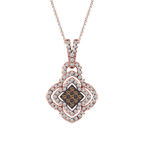 Womens 3/4 CT. T.W. Genuine Champagne Diamond 10K Gold Pendant Necklace