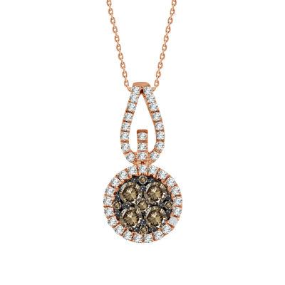 Womens 1/2 CT. T.W. Genuine Champagne Diamond 14K Gold Pendant Necklace