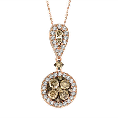 Womens 3/4 CT. T.W. Genuine Champagne Diamond 14K Gold Pendant Necklace