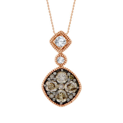 Womens 1/2 CT. T.W. Genuine Champagne Diamond 14K Gold Pendant Necklace