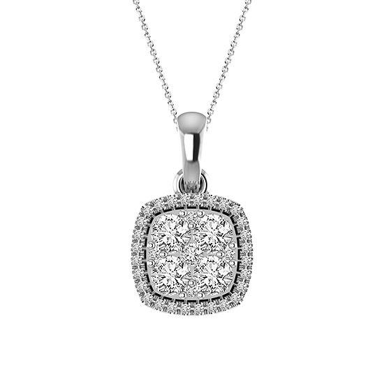 Womens 1/2 CT. T.W. Genuine White Diamond 14K Gold Pendant Necklace