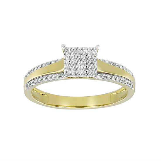 Womens 1 4 Ct Tw Genuine White Diamond 10k Gold Cocktail Ring