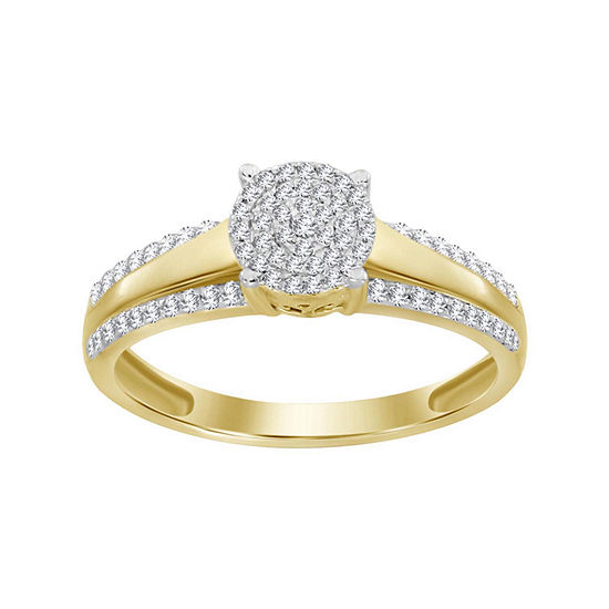Womens 1 4 Ct Tw Genuine White Diamond 10k Gold Cocktail Ring