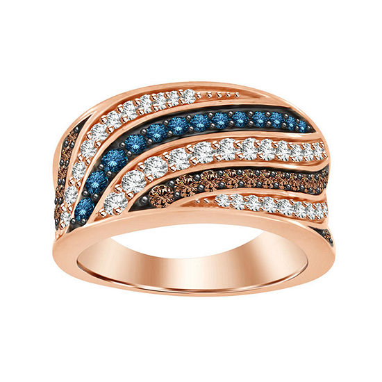 Womens 1 CT. T.W. Genuine Champagne Diamond 10K Gold Cocktail Ring