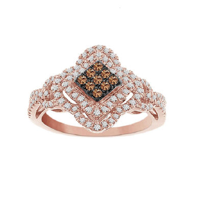 Womens 2mm 1/2 CT. T.W. Genuine Champagne Diamond 10K Gold Cluster Ring