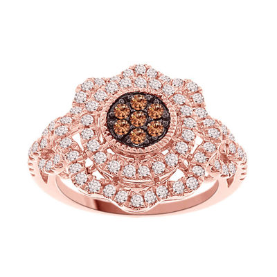 Womens 3/4 CT. T.W. Champagne Diamond 10K Gold Cluster Ring