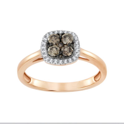 Womens 1/2 CT. T.W. White Diamond 10K Gold Halo Ring