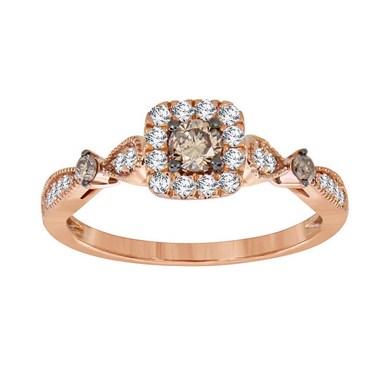 Womens 1/2 CT. T.W. Genuine Champagne Diamond 10K Gold Halo Cocktail Ring