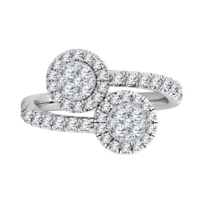 Womens 1 CT. T.W. Genuine White Diamond 10K Gold Bypass  Cocktail Ring