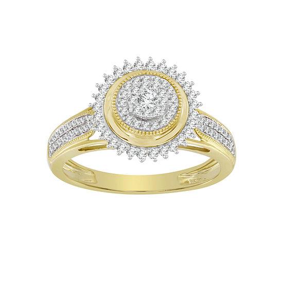 Womens 1 3 Ct Tw Genuine White Diamond 10k Gold Cocktail Ring