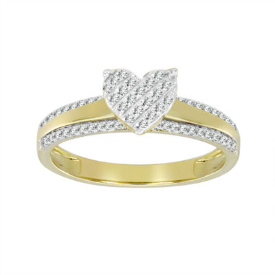 Womens 1/5 CT. T.W. White Diamond 10K Gold Delicate Ring