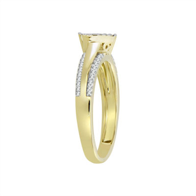 Womens 1/5 CT. T.W. Genuine White Diamond 10K Gold Delicate Cocktail Ring