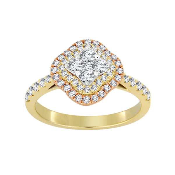 Womens 3/4 CT. T.W. Genuine White Diamond 14K Gold Cluster Ring