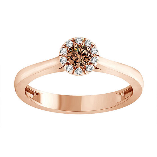Womens 1/4 CT. T.W. Chapagne & White Diamond 14K Rose Gold Halo Ring