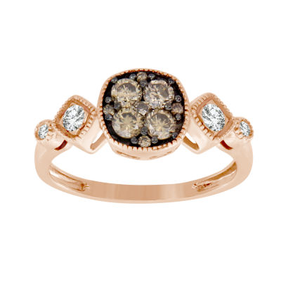 Womens 5/8 CT. T.W. White & Champagne Diamond 14K Gold 3-Stone Ring
