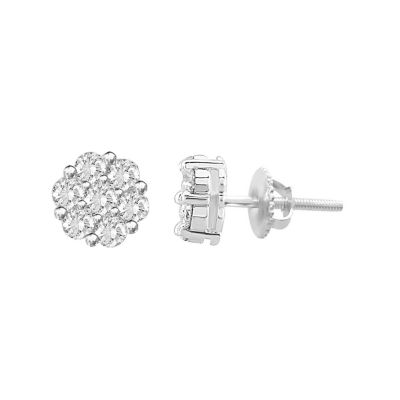 1 CT. T.W. Round White Diamond Sterling Silver Stud Earrings