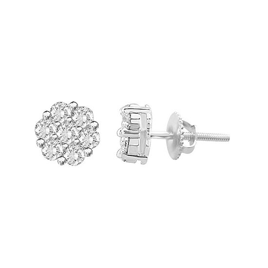 1 CT. T.W. Genuine White Diamond 7.8mm Stud Earrings