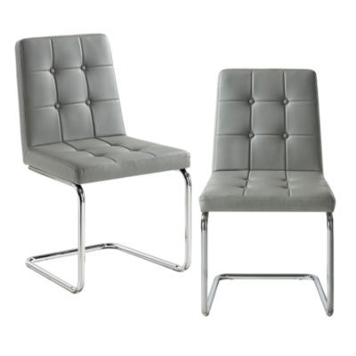 Inspired Home Set of 2 Julian PU Leather Biscuit Tufted Armless Chrome Frame Dining Chairs