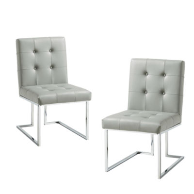 Inspired Home Set of 2 Triniti PU Leather Button Tufted Armless Chrome Frame Dining Chairs