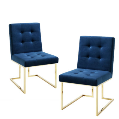 Inspired Home Set of 2 Triniti Velvet Button Tufted Armless Gold Frame Dining Chairs