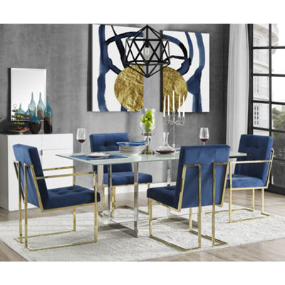 Inspired Home Set of 2 Triniti Velvet Button Tufted Square Arm Gold Frame Dining Chairs